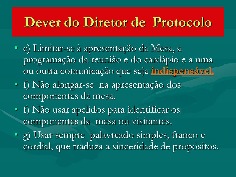 Dever do Diretor de Protocolo