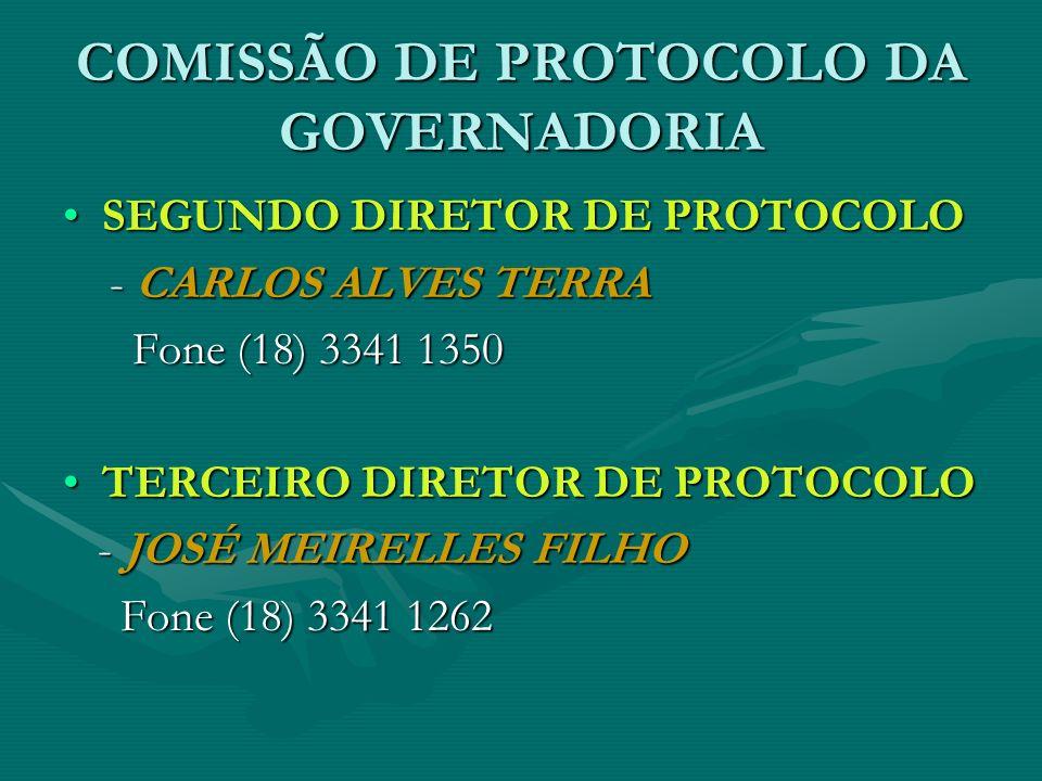 COMISSÃO DE PROTOCOLO DA GOVERNADORIA