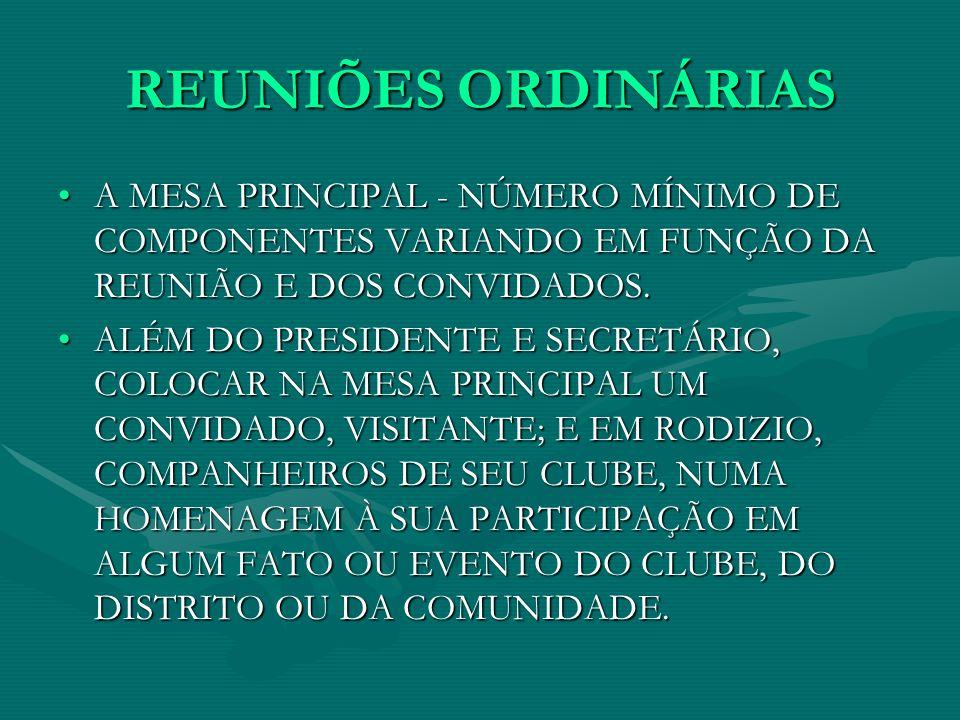 REUNIÕES ORDINÁRIAS A MESA PRINCIPAL - NÚMERO MÍNIMO DE COMPONENTES VARIANDO EM FUNÇÃO DA REUNIÃO E DOS CONVIDADOS.