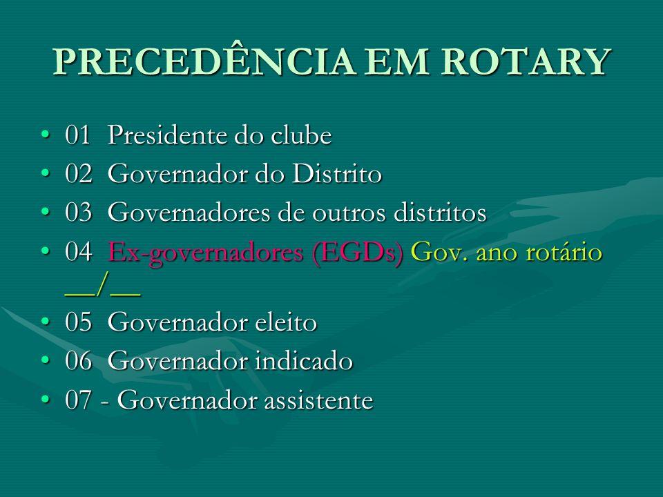 PRECEDÊNCIA EM ROTARY 01  Presidente do clube