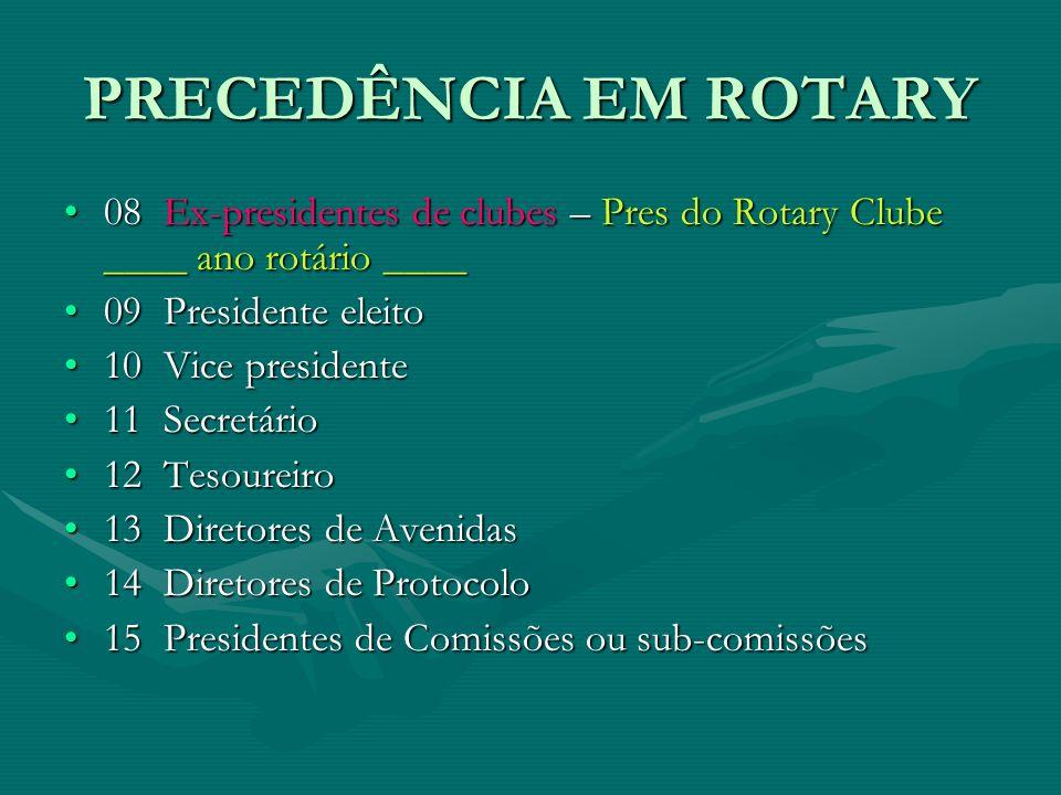 PRECEDÊNCIA EM ROTARY 08  Ex-presidentes de clubes – Pres do Rotary Clube ____ ano rotário ____. 09  Presidente eleito.