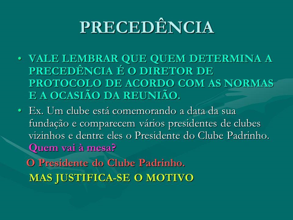 PRECEDÊNCIA VALE LEMBRAR QUE QUEM DETERMINA A PRECEDÊNCIA É O DIRETOR DE PROTOCOLO DE ACORDO COM AS NORMAS E A OCASIÃO DA REUNIÃO.