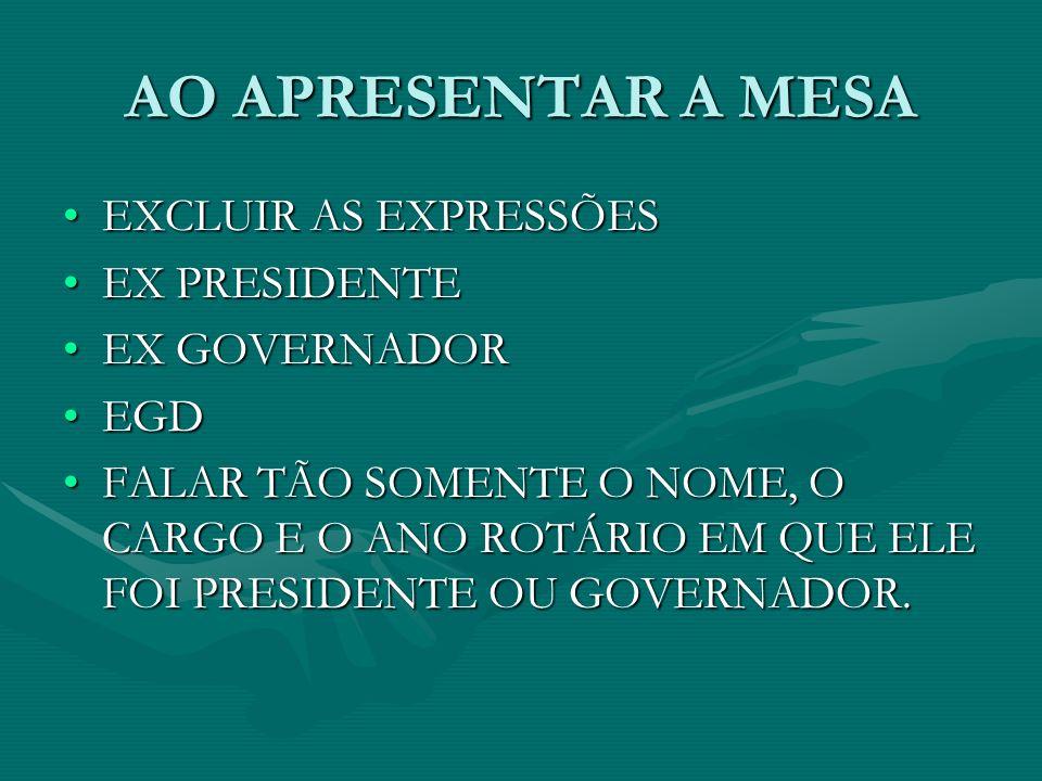 AO APRESENTAR A MESA EXCLUIR AS EXPRESSÕES EX PRESIDENTE EX GOVERNADOR