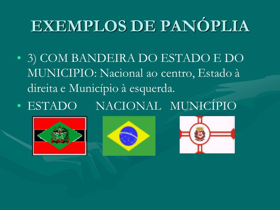 EXEMPLOS DE PANÓPLIA 3) COM BANDEIRA DO ESTADO E DO MUNICIPIO: Nacional ao centro, Estado à direita e Município à esquerda.