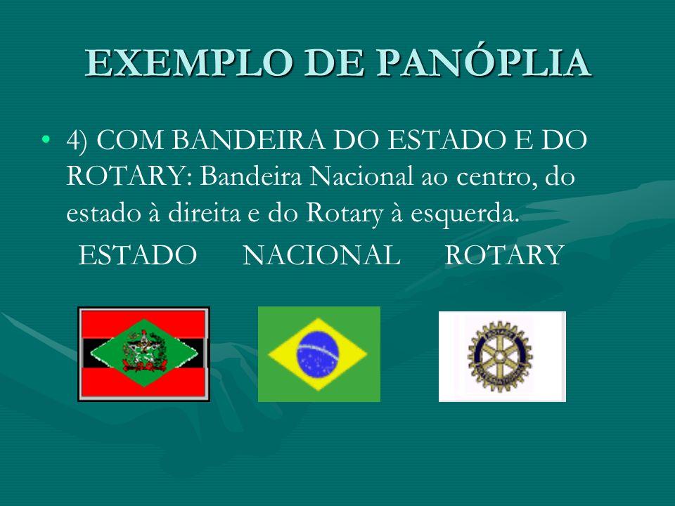 EXEMPLO DE PANÓPLIA 4) COM BANDEIRA DO ESTADO E DO ROTARY: Bandeira Nacional ao centro, do estado à direita e do Rotary à esquerda.