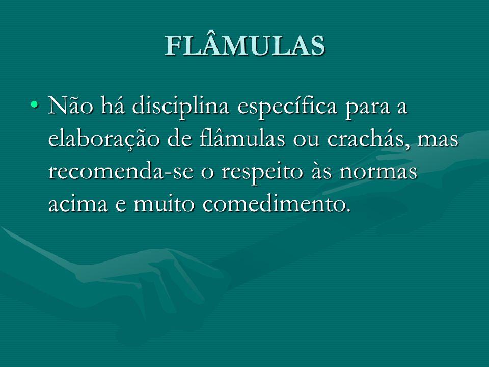 FLÂMULAS Não há disciplina específica para a elaboração de flâmulas ou crachás, mas recomenda-se o respeito às normas acima e muito comedimento.