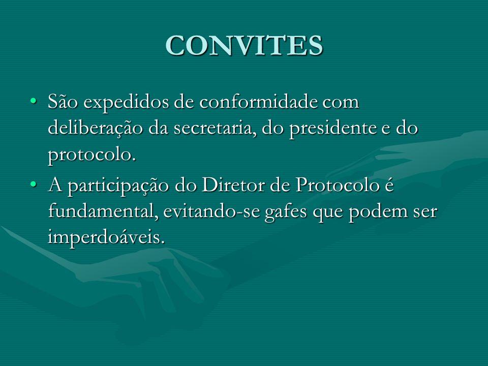 CONVITES São expedidos de conformidade com deliberação da secretaria, do presidente e do protocolo.