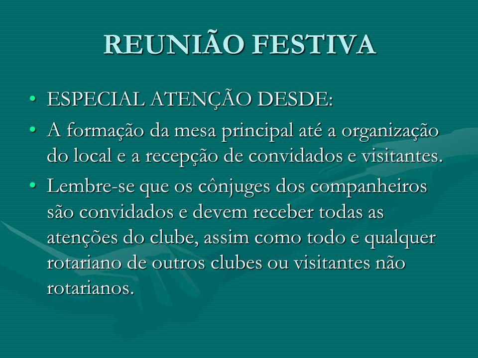 REUNIÃO FESTIVA ESPECIAL ATENÇÃO DESDE: