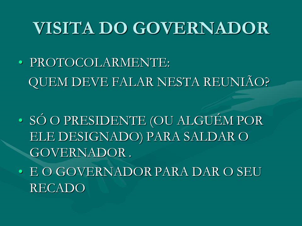 VISITA DO GOVERNADOR PROTOCOLARMENTE: QUEM DEVE FALAR NESTA REUNIÃO