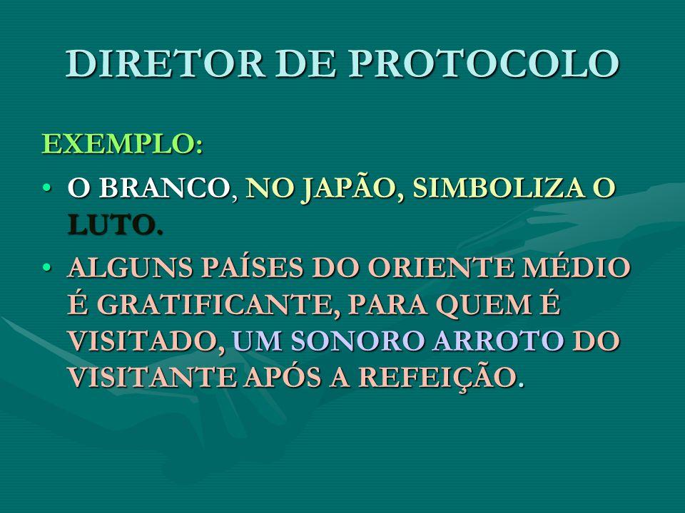 DIRETOR DE PROTOCOLO EXEMPLO: O BRANCO, NO JAPÃO, SIMBOLIZA O LUTO.