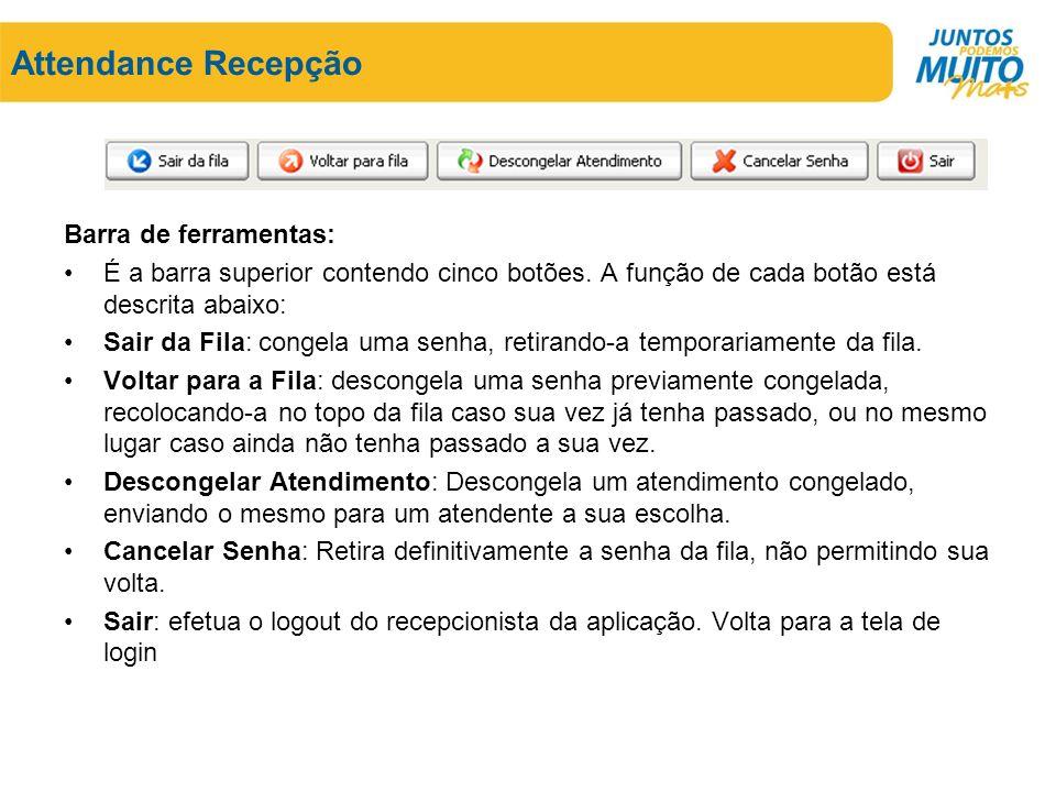 Attendance Recepção Barra de ferramentas: