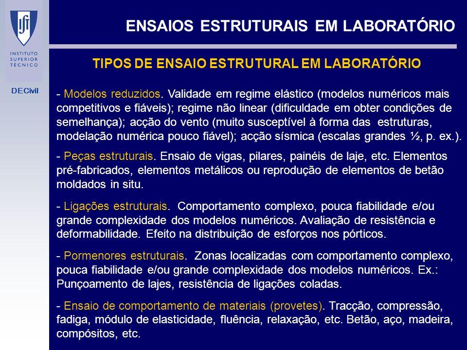 TIPOS DE ENSAIO ESTRUTURAL EM LABORATÓRIO