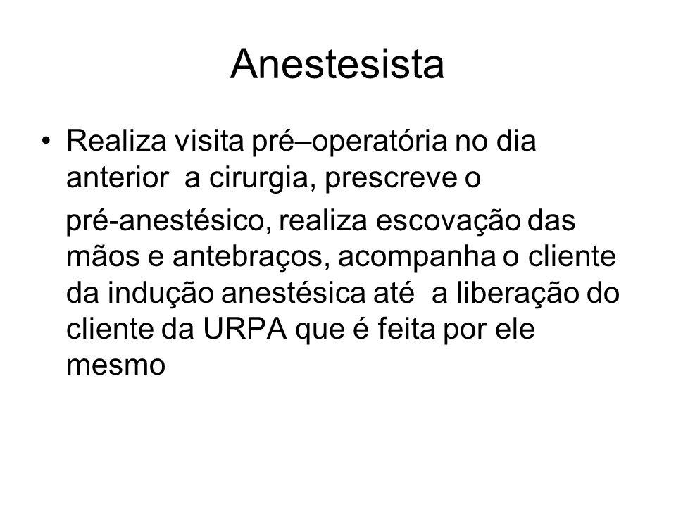 Anestesista Realiza visita pré–operatória no dia anterior a cirurgia, prescreve o.