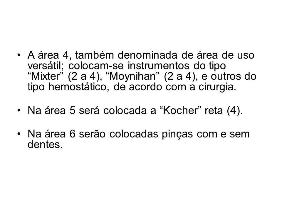 A área 4, também denominada de área de uso versátil; colocam-se instrumentos do tipo Mixter (2 a 4), Moynihan (2 a 4), e outros do tipo hemostático, de acordo com a cirurgia.