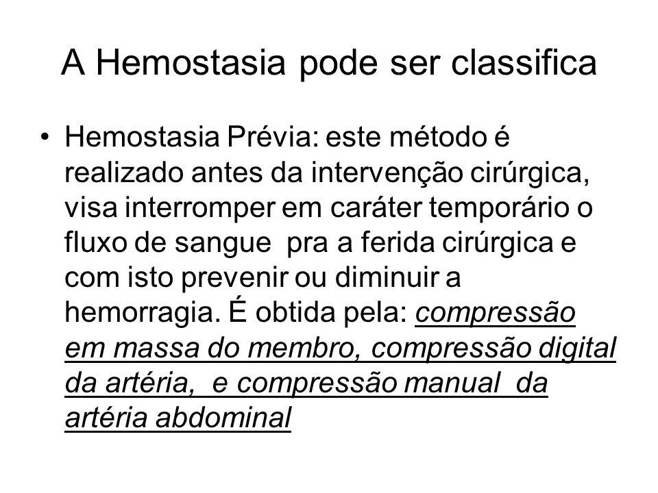 A Hemostasia pode ser classifica