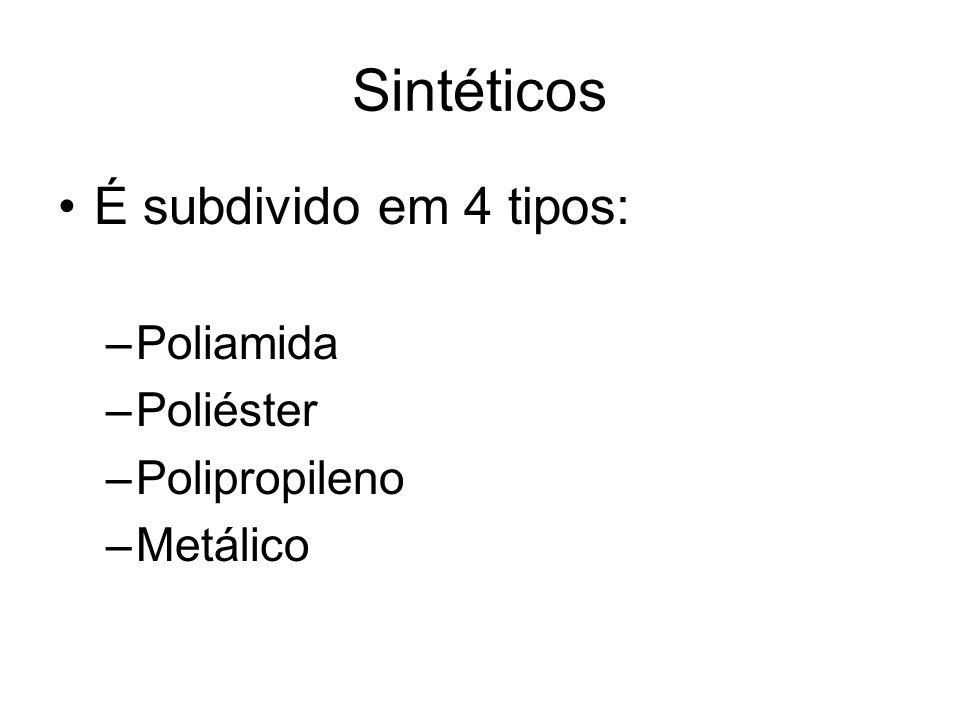 Sintéticos É subdivido em 4 tipos: Poliamida Poliéster Polipropileno
