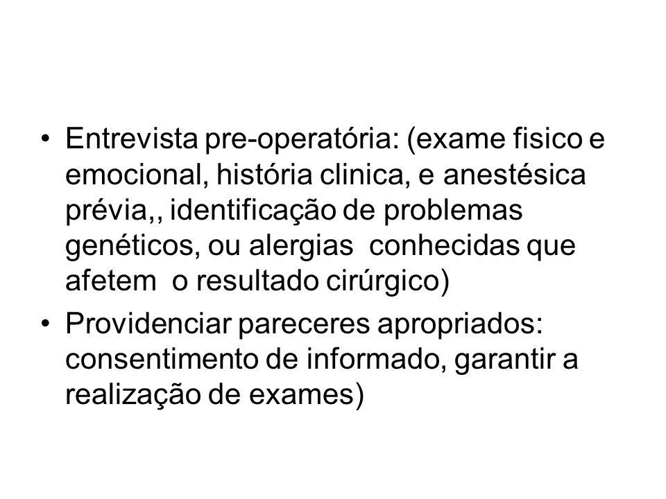 Entrevista pre-operatória: (exame fisico e emocional, história clinica, e anestésica prévia,, identificação de problemas genéticos, ou alergias conhecidas que afetem o resultado cirúrgico)