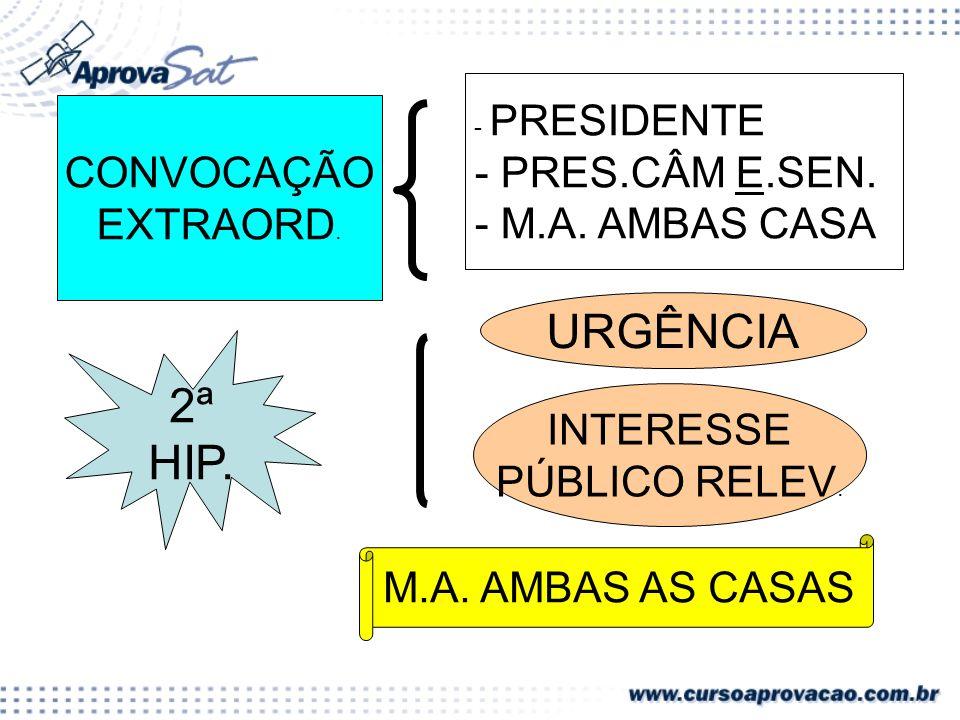 URGÊNCIA 2ª HIP. - PRES.CÂM E.SEN. CONVOCAÇÃO - M.A. AMBAS CASA