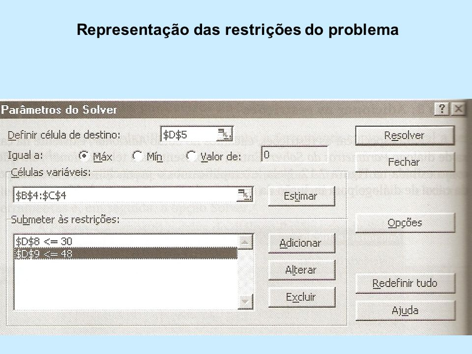 Representação das restrições do problema