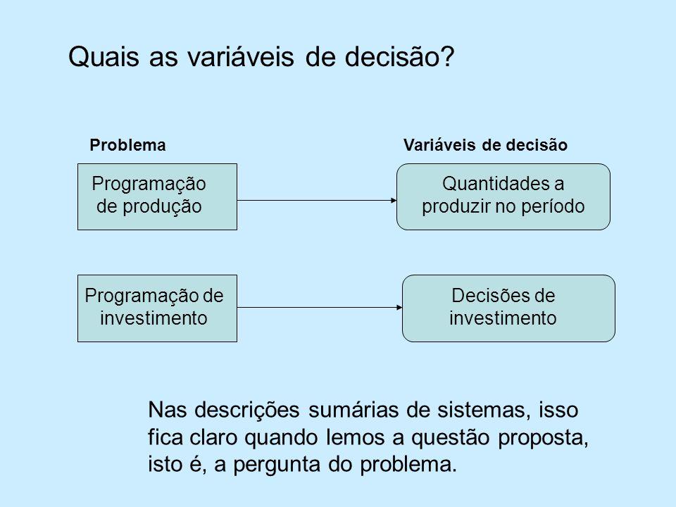 Quais as variáveis de decisão