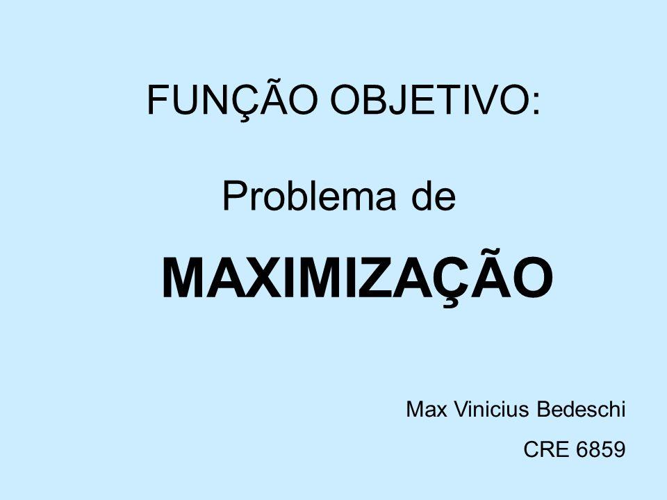 MAXIMIZAÇÃO Problema de FUNÇÃO OBJETIVO: Max Vinicius Bedeschi