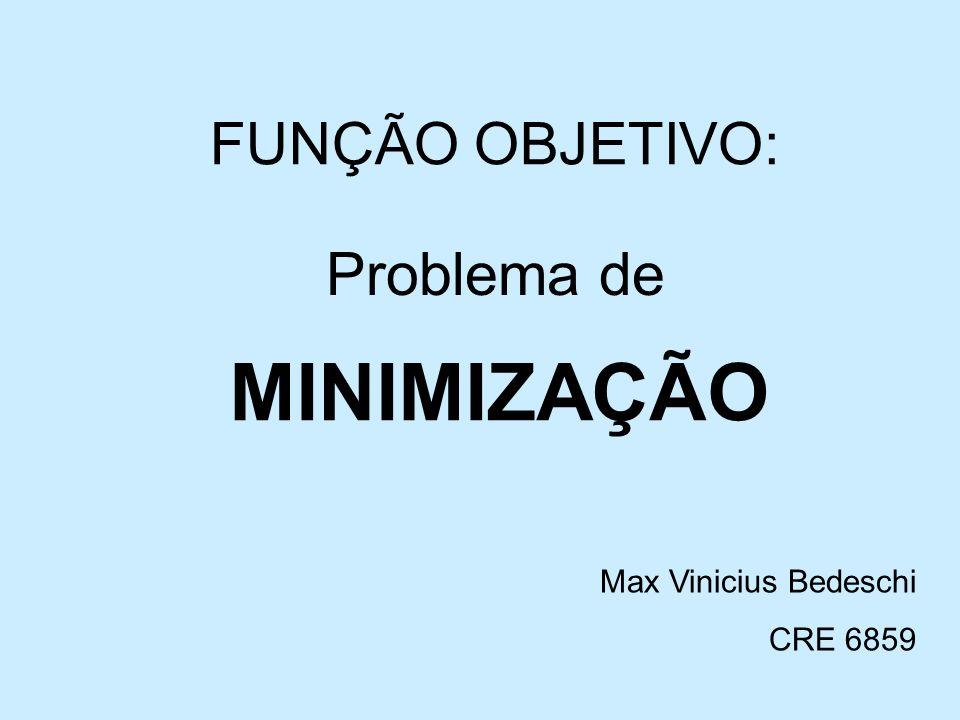 MINIMIZAÇÃO Problema de FUNÇÃO OBJETIVO: Max Vinicius Bedeschi