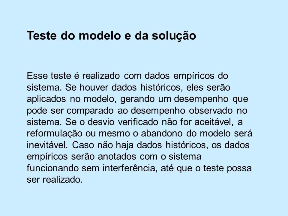 Teste do modelo e da solução