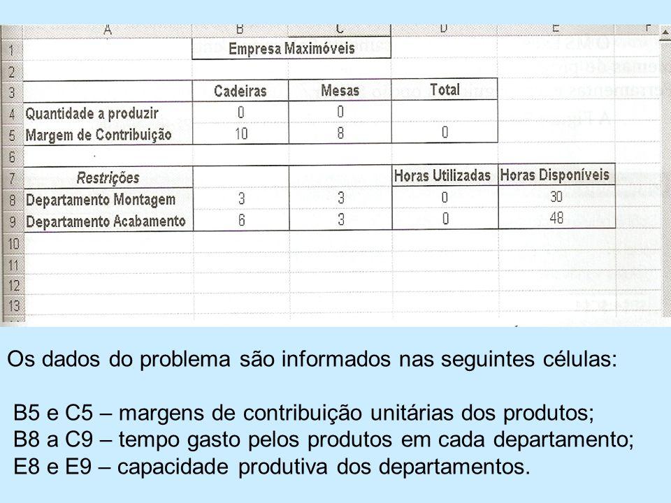 Os dados do problema são informados nas seguintes células: