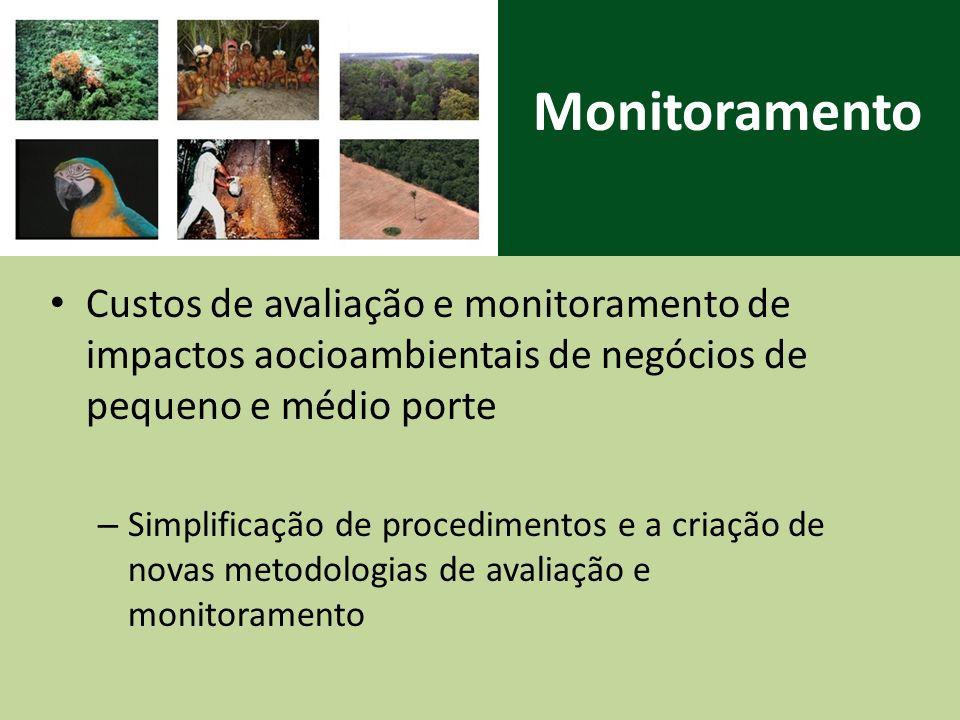 Monitoramento Custos de avaliação e monitoramento de impactos aocioambientais de negócios de pequeno e médio porte.