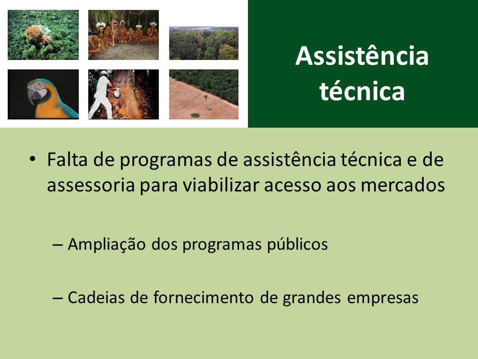 Assistência técnica Falta de programas de assistência técnica e de assessoria para viabilizar acesso aos mercados.