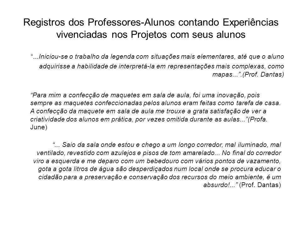 Registros dos Professores-Alunos contando Experiências vivenciadas nos Projetos com seus alunos