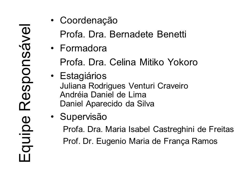 Equipe Responsável Coordenação Profa. Dra. Bernadete Benetti Formadora