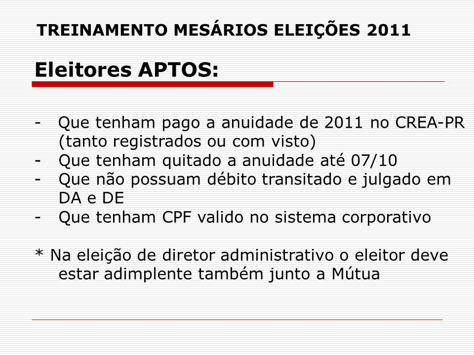 TREINAMENTO MESÁRIOS ELEIÇÕES 2011