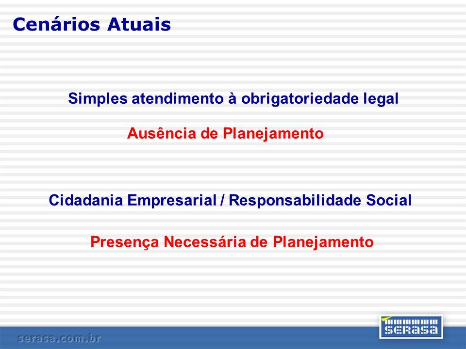 Cenários Atuais Simples atendimento à obrigatoriedade legal