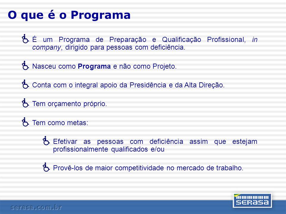 O que é o Programa É um Programa de Preparação e Qualificação Profissional, in company, dirigido para pessoas com deficiência.