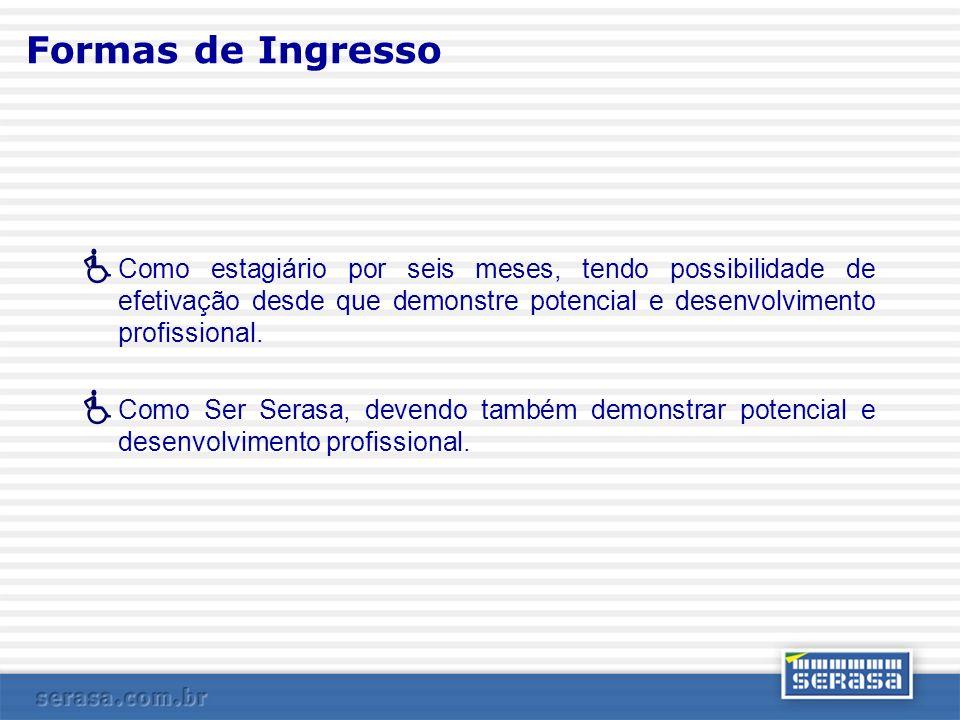 Formas de Ingresso Como estagiário por seis meses, tendo possibilidade de efetivação desde que demonstre potencial e desenvolvimento profissional.