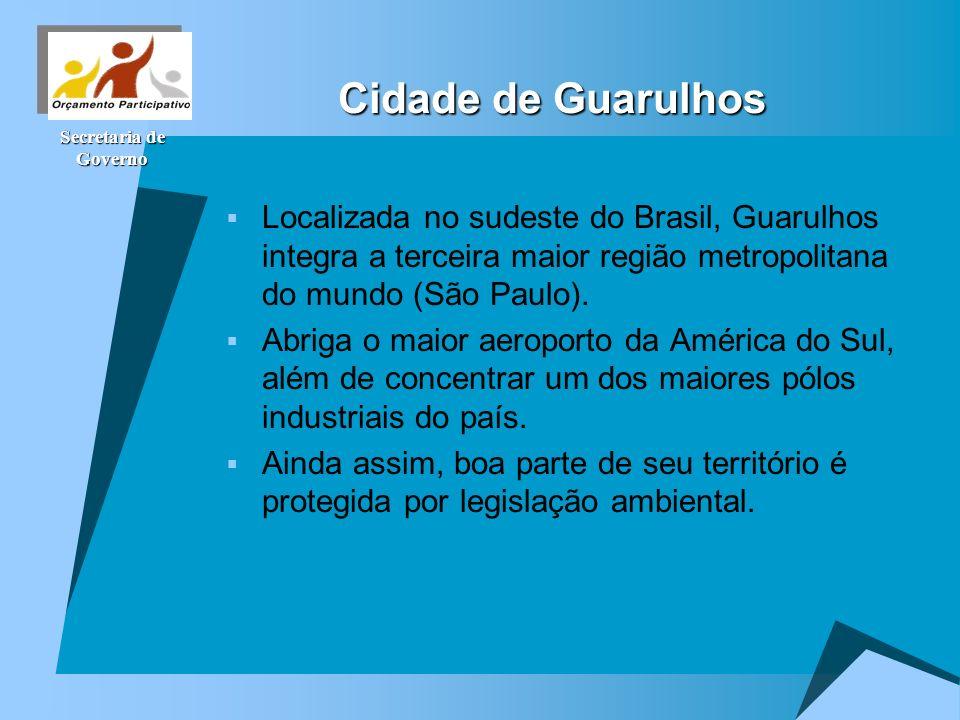 Cidade de Guarulhos Localizada no sudeste do Brasil, Guarulhos integra a terceira maior região metropolitana do mundo (São Paulo).