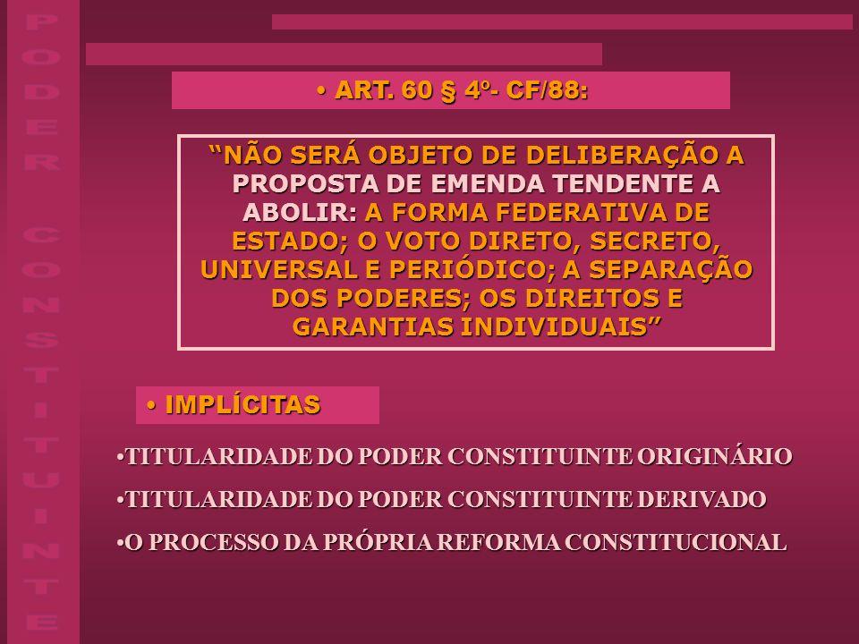 PODER CONSTITUINTE ART. 60 § 4º- CF/88:
