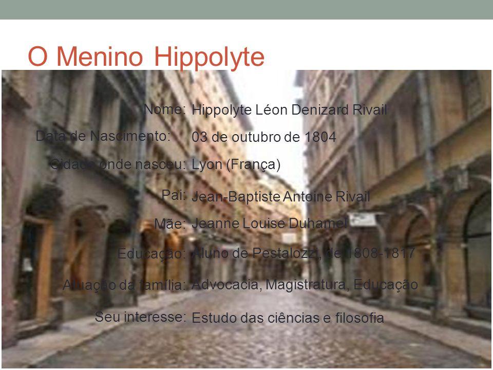 O Menino Hippolyte Nome: Hippolyte Léon Denizard Rivail