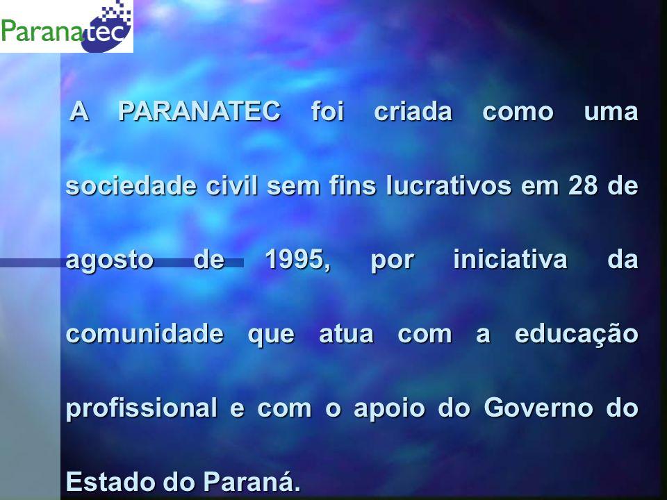 A PARANATEC foi criada como uma sociedade civil sem fins lucrativos em 28 de agosto de 1995, por iniciativa da comunidade que atua com a educação profissional e com o apoio do Governo do Estado do Paraná.