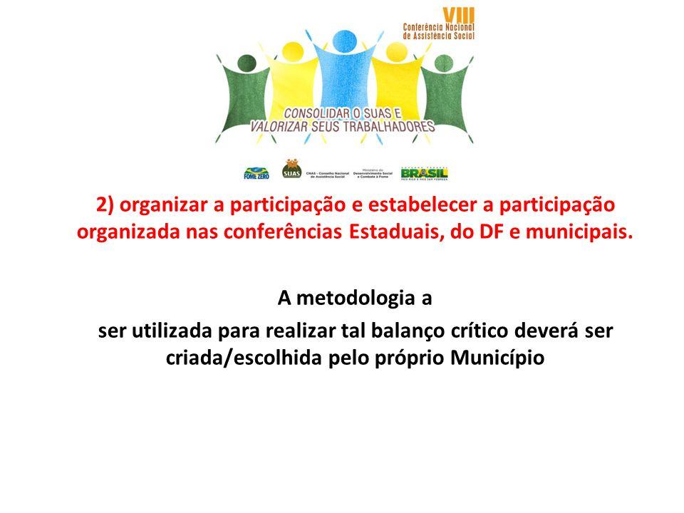 2) organizar a participação e estabelecer a participação organizada nas conferências Estaduais, do DF e municipais.
