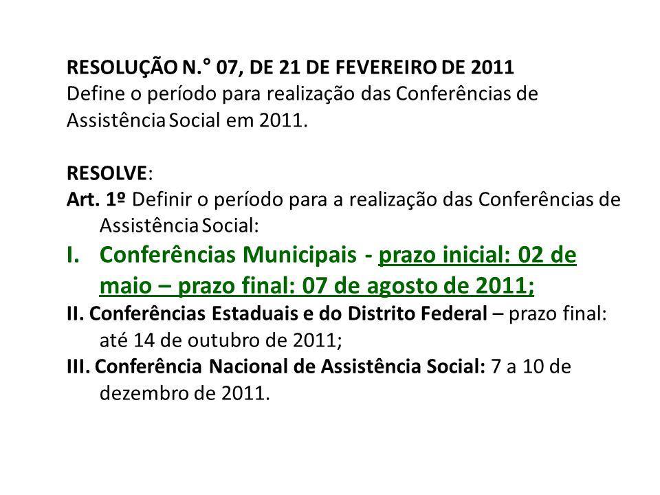 RESOLUÇÃO N.° 07, DE 21 DE FEVEREIRO DE 2011