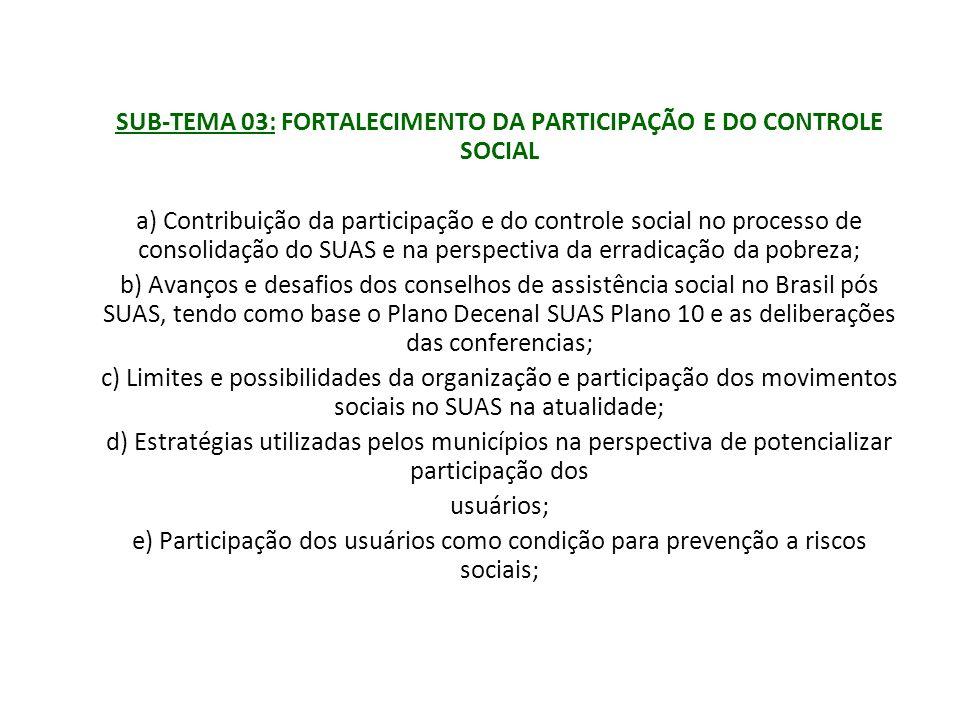 SUB-TEMA 03: FORTALECIMENTO DA PARTICIPAÇÃO E DO CONTROLE SOCIAL
