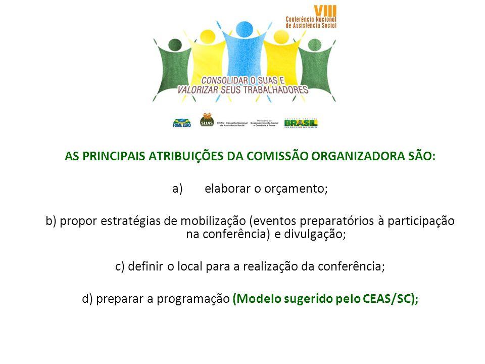 AS PRINCIPAIS ATRIBUIÇÕES DA COMISSÃO ORGANIZADORA SÃO: