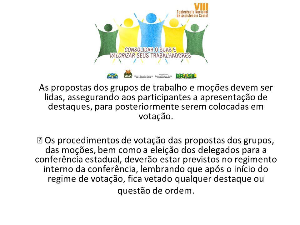 As propostas dos grupos de trabalho e moções devem ser lidas, assegurando aos participantes a apresentação de destaques, para posteriormente serem colocadas em votação.