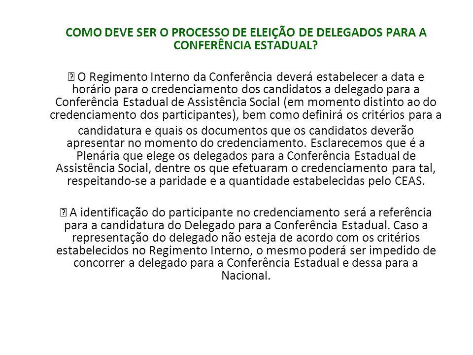 COMO DEVE SER O PROCESSO DE ELEIÇÃO DE DELEGADOS PARA A CONFERÊNCIA ESTADUAL