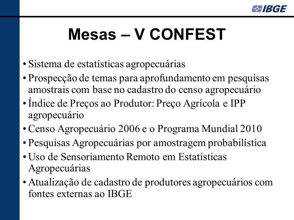 Mesas – V CONFEST Sistema de estatísticas agropecuárias