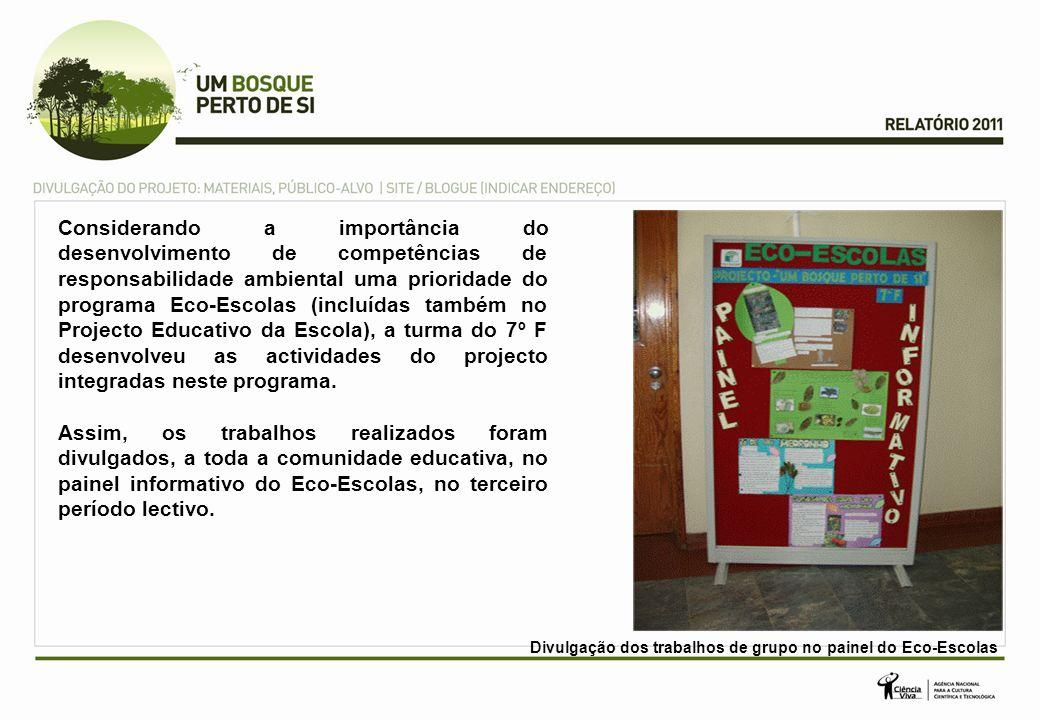 Considerando a importância do desenvolvimento de competências de responsabilidade ambiental uma prioridade do programa Eco-Escolas (incluídas também no Projecto Educativo da Escola), a turma do 7º F desenvolveu as actividades do projecto integradas neste programa.