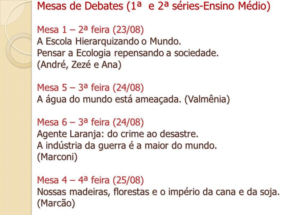 Mesas de Debates (1ª e 2ª séries-Ensino Médio)