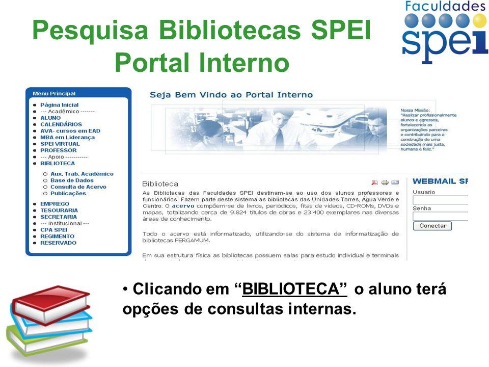 Pesquisa Bibliotecas SPEI Portal Interno